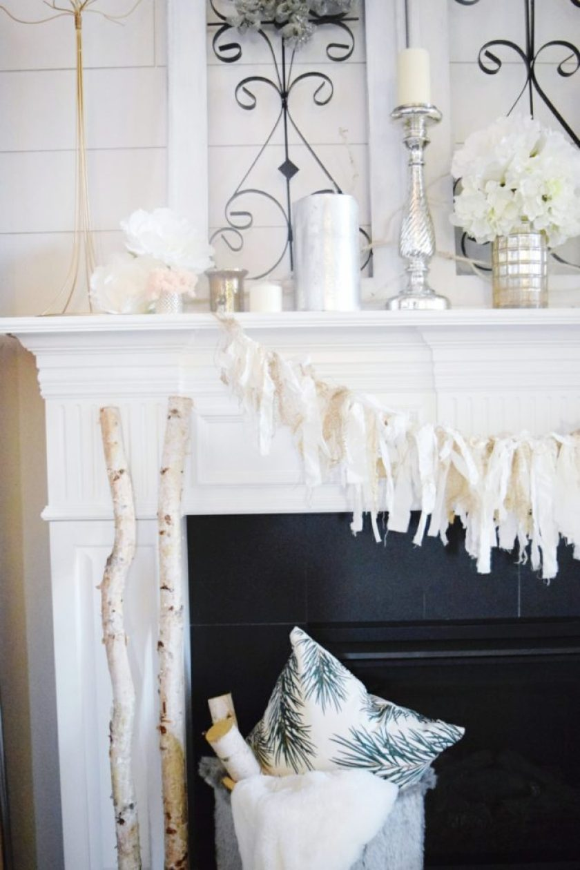 winter cozy and glam mantle