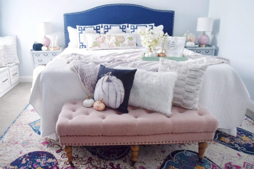 how to decorate for fall with non-traditional color palettes guest room decor fall decor colorful fall decorations navy decor pink decor decorating with colors seasonal decor
