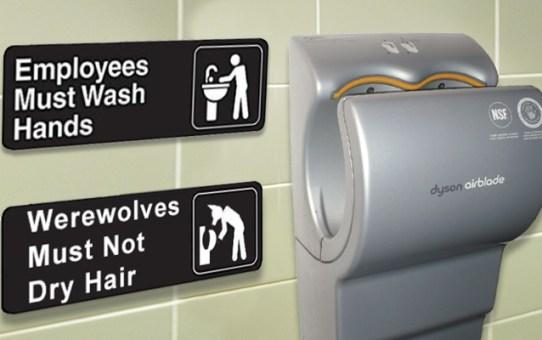 Werewolf head stuck in hair dryer - WereWatchers