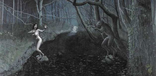 Woman Suprised by a Werewolf - Stuart Pearson Wright