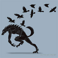 Werewolf Running from Ravens