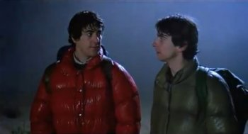 "David and Jack just before they discover why they should ""beware the moon"" on the Scottish moors"