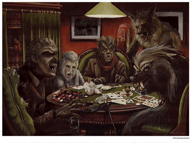 "Class up your parlour with ""Werewolves Playing Poker"" featured image"