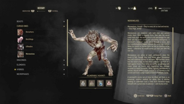 The Witcher 3 Werewolves Bestiary