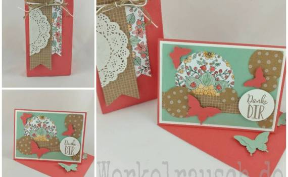 Karte und Geschenktütchen mit Schmetterlingen