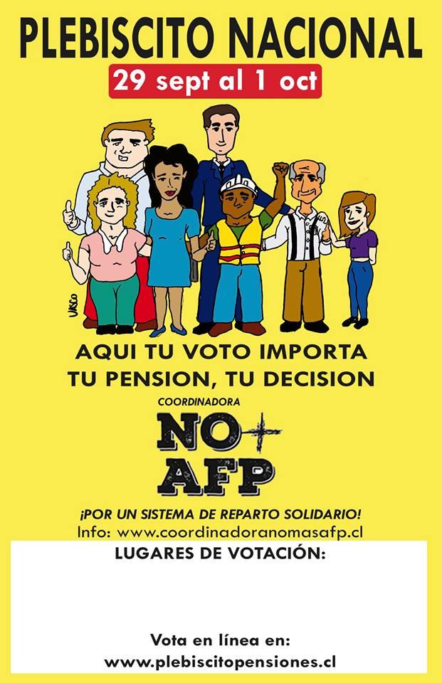 Chile - El plebiscito convocado por la Coordinadora Nacional de Trabajadores NO + AFP es la gran tarea del mes