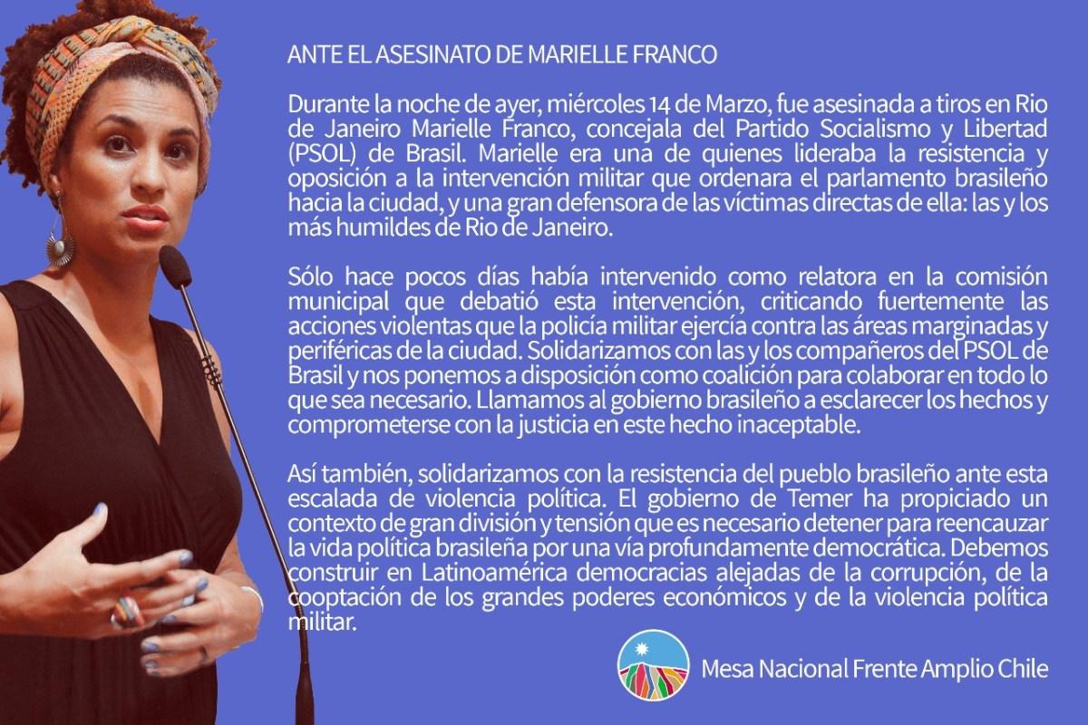 Ante el asesinato de Marielle Franco. FA Chile