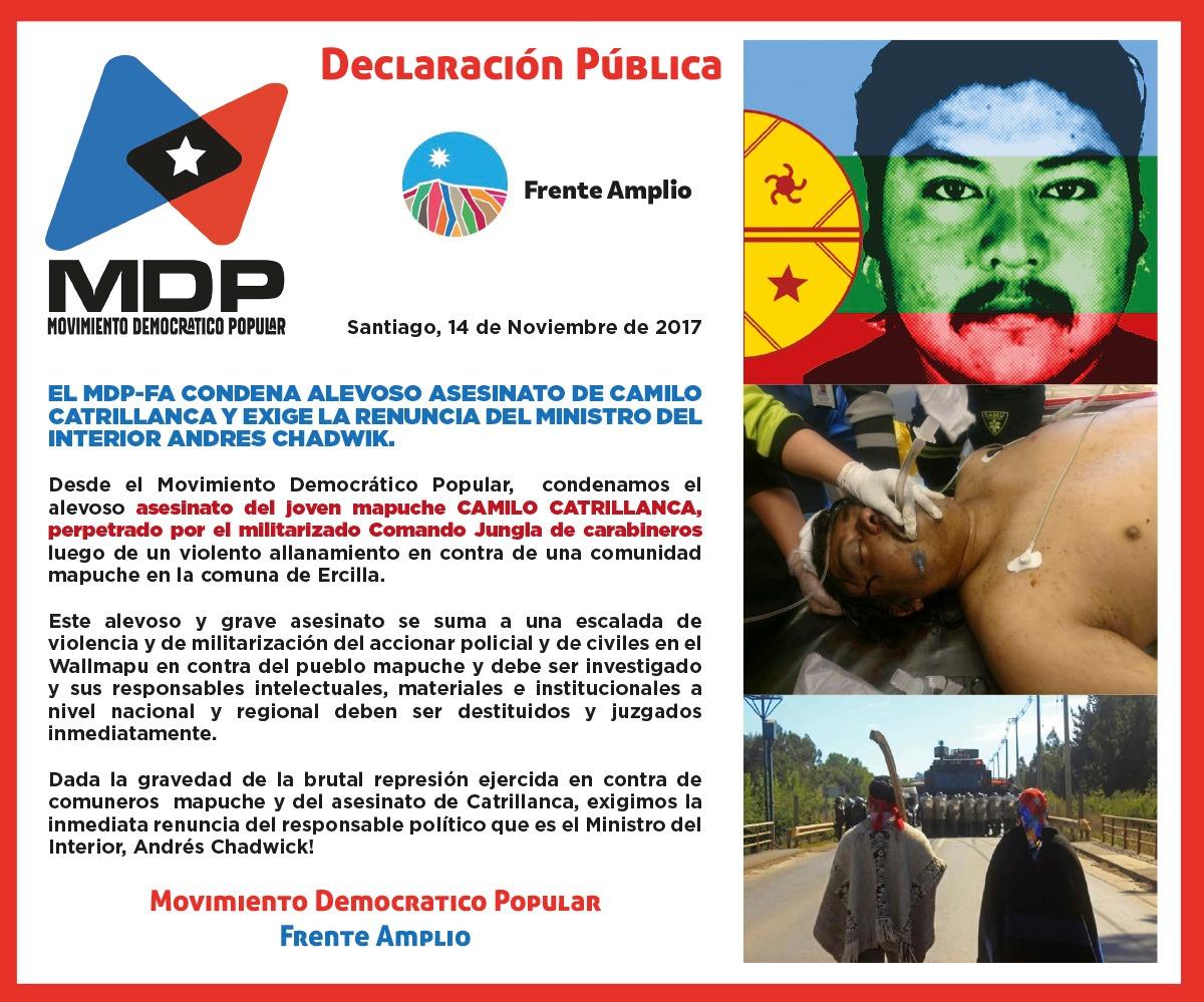 Movimiento Democrático Popular  Condena alevoso asesinato de Camilo Catrillanca y exige la renuncia del Ministro del Interior Andrés Chadwick