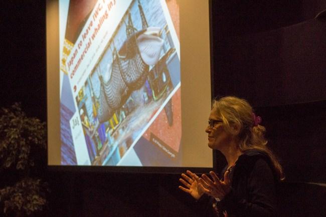 Meike (WUR IJmuiden) talking on issues in IWC