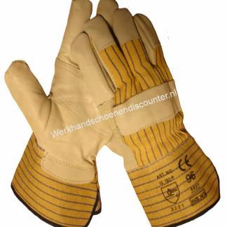 Werkhandschoen China rund/boxleder met palmversterking en geel/blauw streepdoek en 10 cm kap. Beschikbaar in maten 10,5 Type: Boxleer China