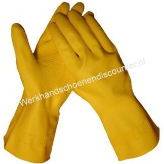 Handschoen huishoud latex geel met extra grof profiel en vlokvoering. CAT I