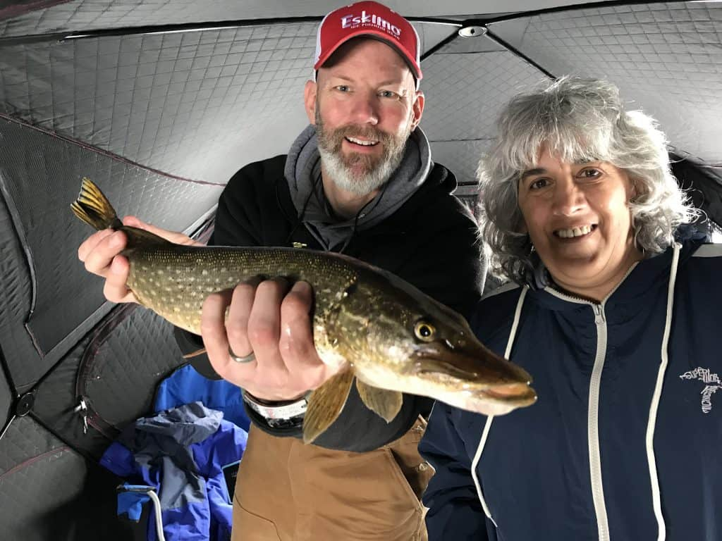 Northern pike caught ice fishing inside an ice shanty