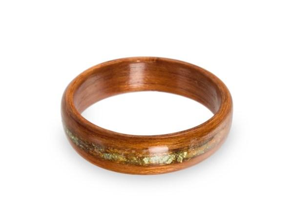 Holzring Kirsche mit Inlay aus Schlagmetall