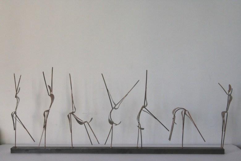 Sculpture de Guillaume Werle, la Roue, acier et laiton