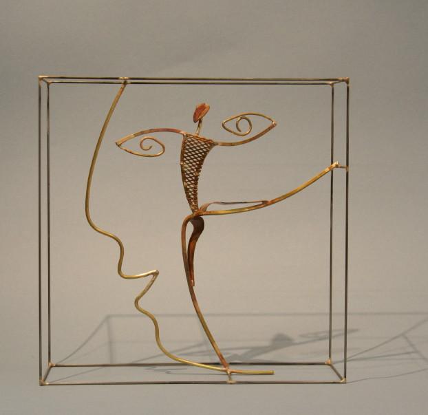 Sculpture de Guillaume Werle, En Avant, laiton acier et bronze