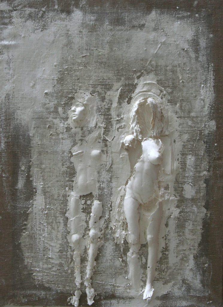 Sculpture en plâtre, toile de lin et châssis en bois de Guillaume Werle appelée Rêverie