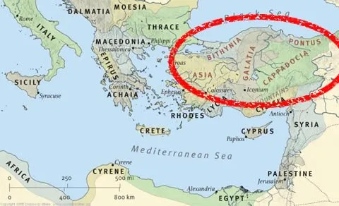 """1 Peter was written to persecuted believers """"Pontus, Galatia, Cappadocia, Asia, and Bithynia"""" (modern day Turkey). This map taken from the online version of ESV Study Bible."""