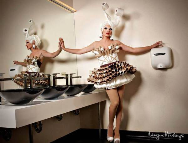 Toilet paper dress, photo by Magnus Hastings