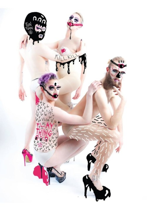 """The """"bio girls"""" of the Family Fierce (From top to bottom: Ruby Wednesday, Meth, Bourgeoisie, and Maxi More) in a promo shoot for their party """"Play Thing"""" (photo by Daniel Peace)"""