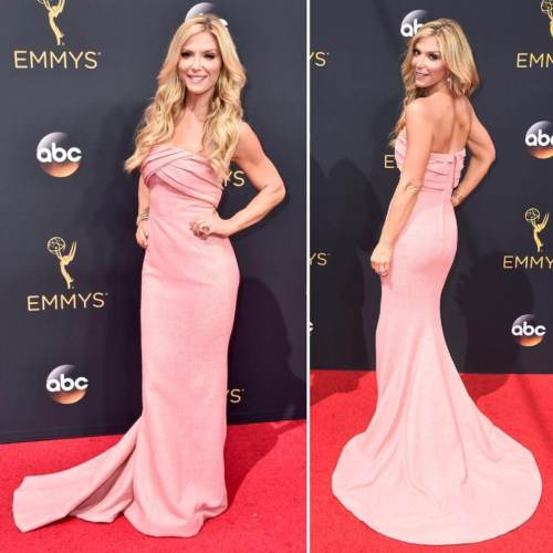 Debbie Matenopoulos wearing NIKOLAKI at the 2016 Primetime Emmys
