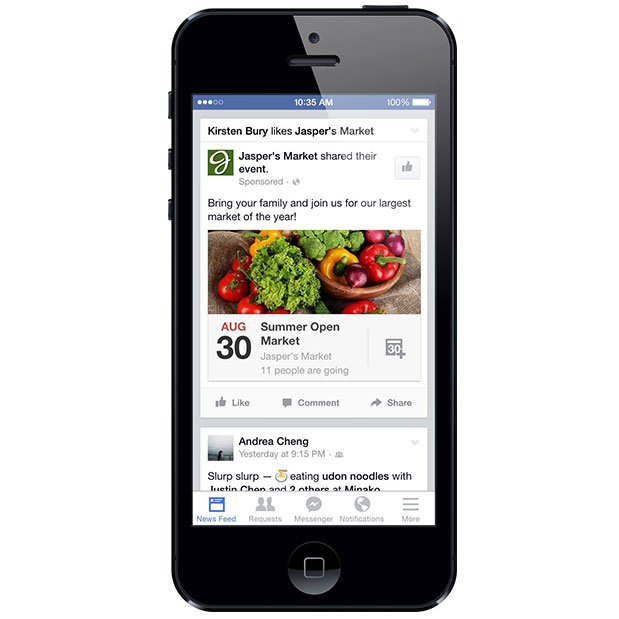 Facebook events ads newsfeed desktop mobile wersm