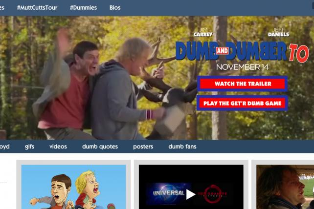 Universal Pictures will promote 'Dumb and Dumber To' with Tumblr's autoplay video ads.
