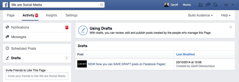 You Can Now Save Draft Posts on Facebook Pages • Facebook • WeRSM
