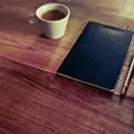 desk iphone notepad coffee