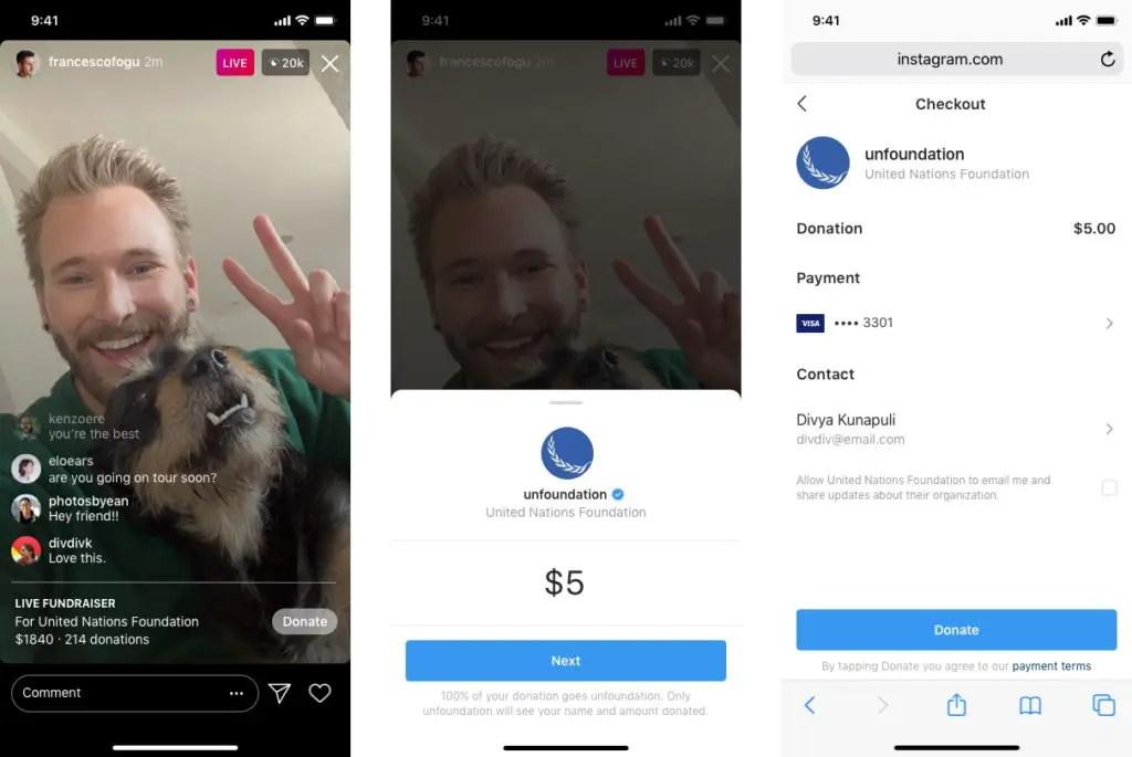 instagram live donation sticker