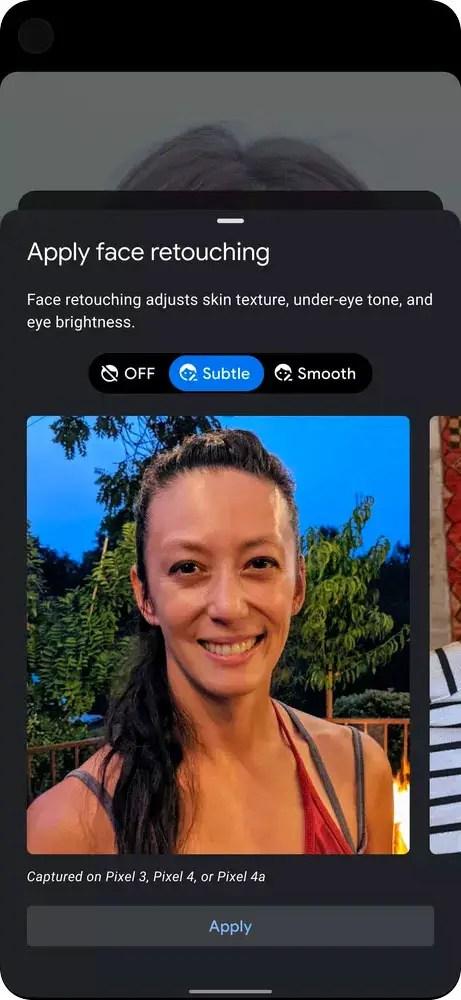 Selfie retouching Google pixel
