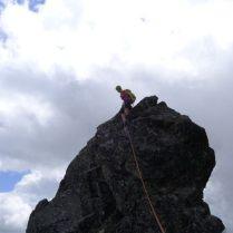 Zejście z turni szczytowej filara