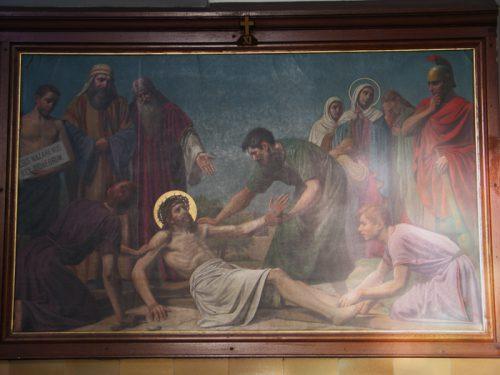 De elfde statie: Jezus wordt aan het kruis genageld