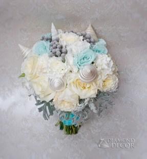 Bukiet ślubny - Tiffany Blue w połączeniu z morskimi akcentami