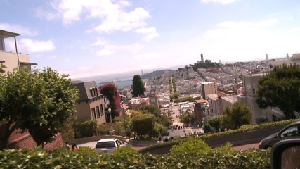 The top of Lombard Street in San Francisco.