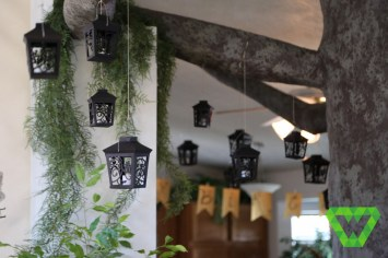 Paper mache tree and paper lanterns.