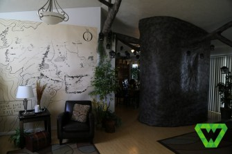 The living room, tree and map.