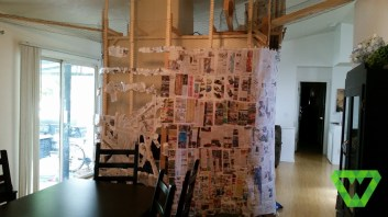 Tree structure and Paper Mache. Note: anchors (newspaper and painter's tape) had to be put in places such as indentations, so the paper wouldn't pull away when drying.
