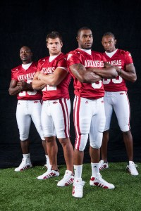 Arkansas Razorback photo shoot for the Football Media Guide cover of Darren McFadden, Felix Jones, Peyton Hillis and Marcus Monk ©Wesley Hitt All Rights Reserved 501-258-0920