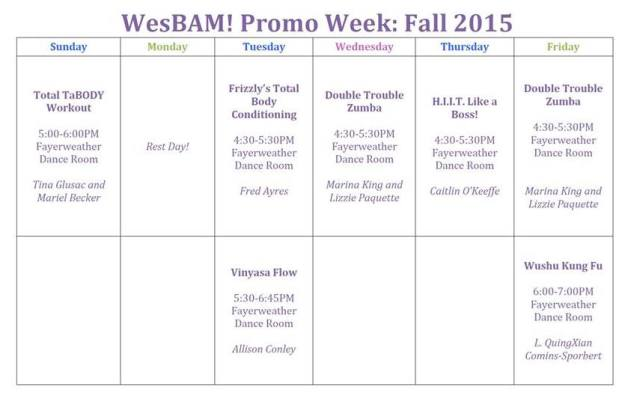 wesbam promo week schedule