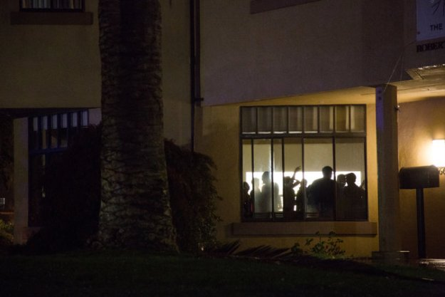a NYT takes a photo of a Stanford party from outside