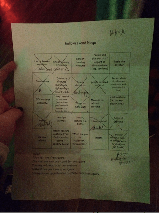 "this was my bingo sheet from 2014. i found a ""nudist on strike"" and they had just taped a sign saying 'nudist on strike' to their clothes and i was sad for them"