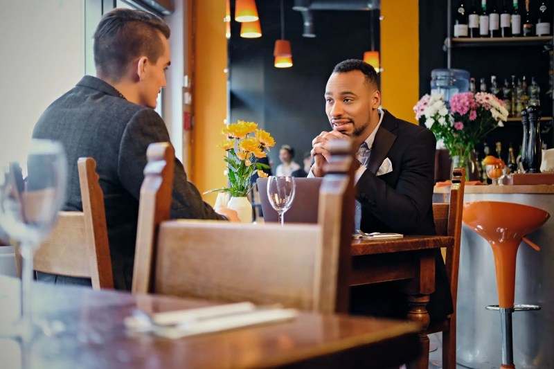 Men having a business meeting in a restaurant.