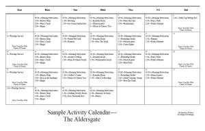 Wesley Manor sample Activity Calendar