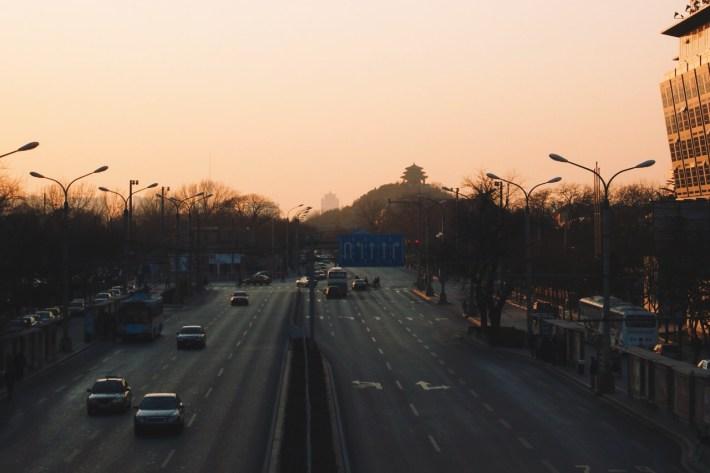 zachód słońca w Pekinie