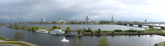 Panorama Rygi z okna Radisson Blu Daugava
