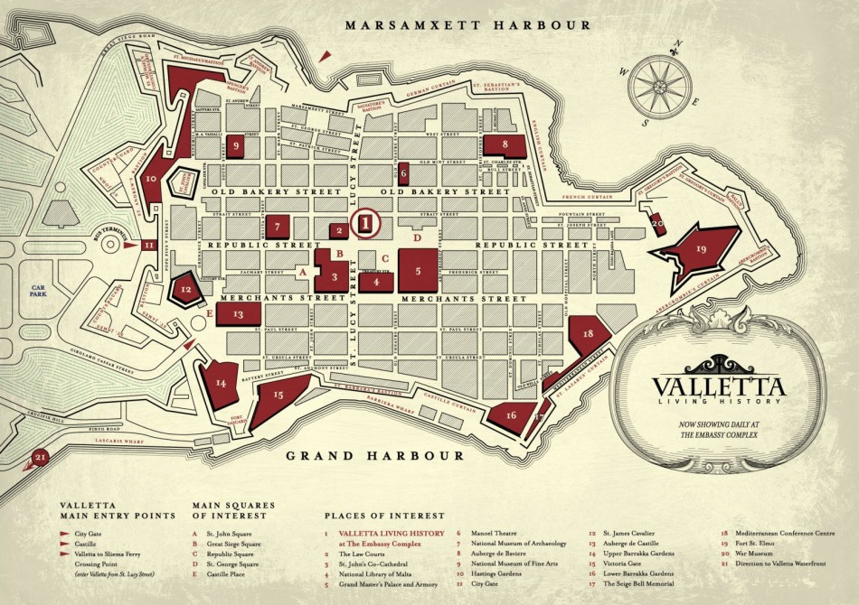 Plan Valletty, źródło: http://www.snapadministration.com/maltaattraction/wallpapers/map_large.jpg