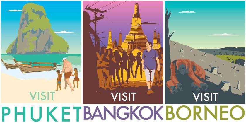 Przykłady plakatów Monk HF - prawdziwe twarze turystyki