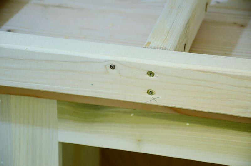 building chunky shelves screw into frame