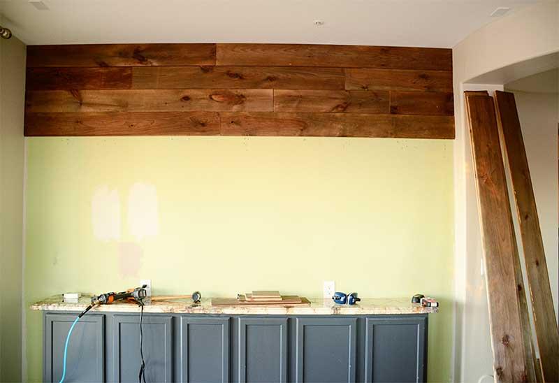 Diy An Easy Wood Plank Wall Using Pine Flooring We Speak Diy