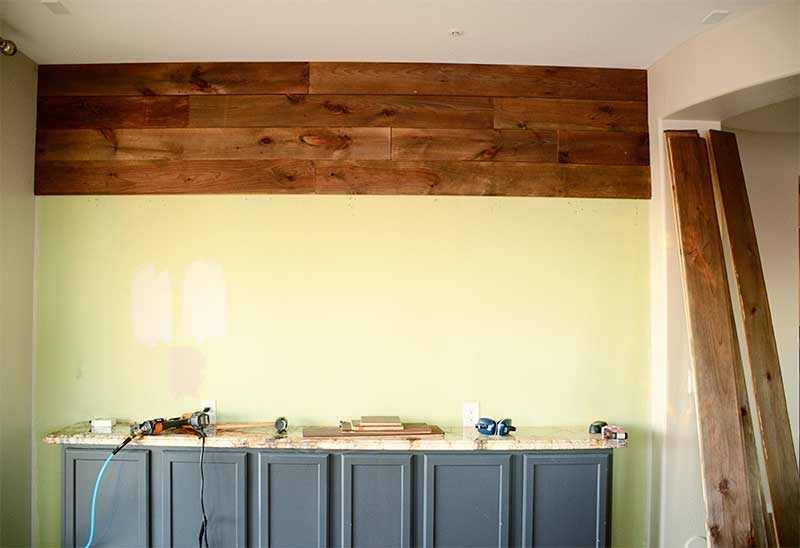 wood plank wall in progress